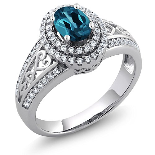 Gem Stone King Sterling Silver London Blue Topaz Women s Ring 1.36 cttw Oval Gemstone Birthstone Available 5,6,7,8,9