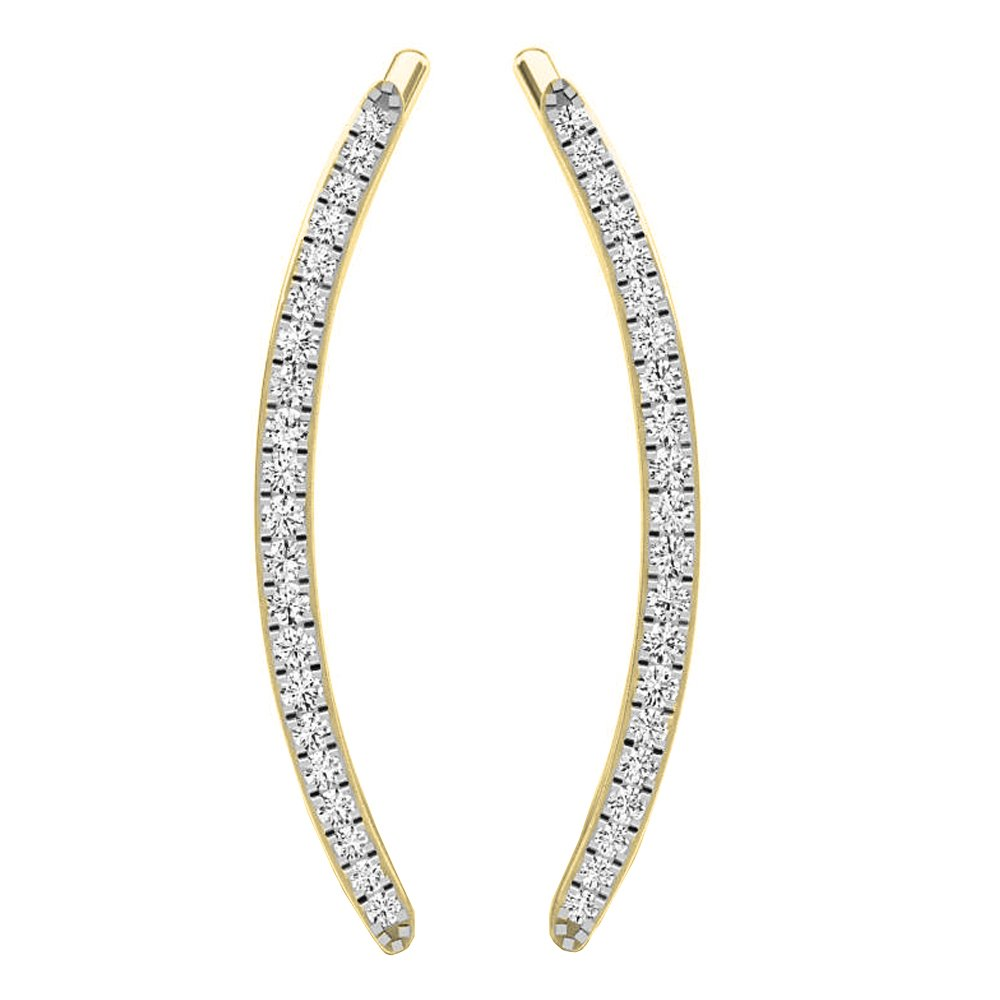 0.16 Carat ctw 10K Gold Round White Diamond Ladies Crawler Climber Earrings
