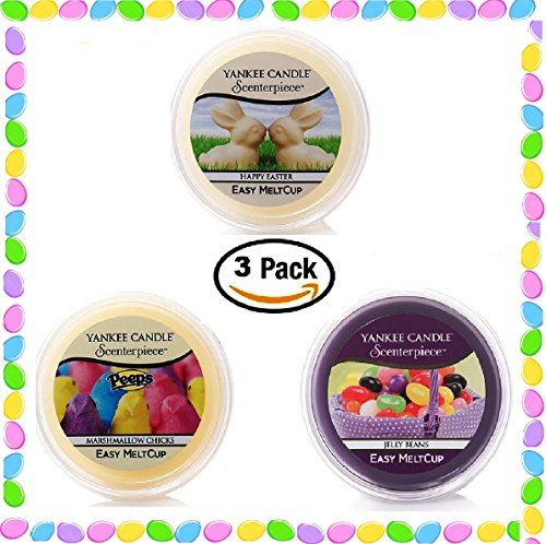 Yankee Candle Easter Meltcups   Peeps Marshmallow Chicks   Happy Easter White Chocolate Bunnies   Jelly Beans    Set Of Three Easter Scent Easy Meltcups Scenterpiece Wax Warmer System Refills