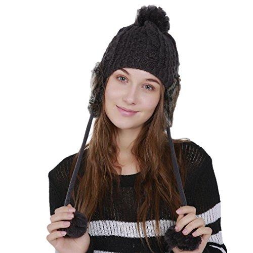 Unpara Women Warm Crochet Winter Wool Cover, Knit Ski Beanie Caps Hat Protect Ears Hairy Bulb, Fashionable (Dark Gray) by Unpara