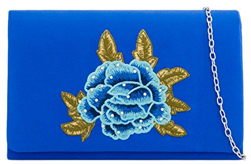 Rose Royal Blue Girly HandBags Clutch HandBags Embroidered Girly Rose Bag Embroidered xzYwvqgO