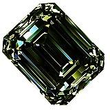 RINGJEWEL 1.66 ct VS1 Emerald Cut Real Loose Moissanite Use 4 Pendant/Ring Dark Blueish Green Color Stone