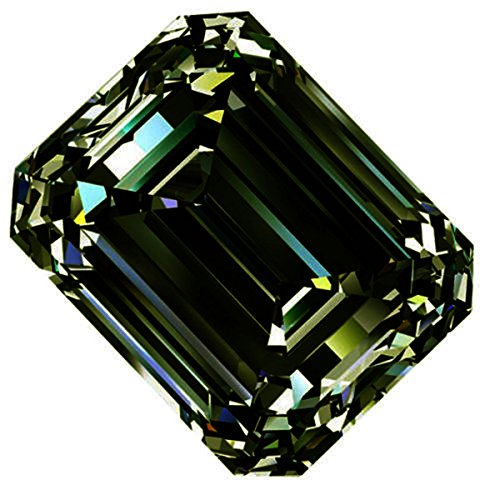RINGJEWEL 1.49 ct VVS1 Emerald Cut Real Loose Moissanite Use 4 Pendant/Ring Dark Blueish Green Color Stone by RINGJEWEL (Image #1)