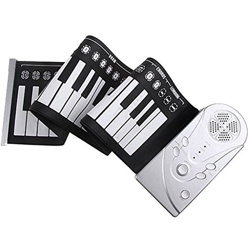 49-Key Portable Roll up Foldable Electric Music Keyboard Piano Silver