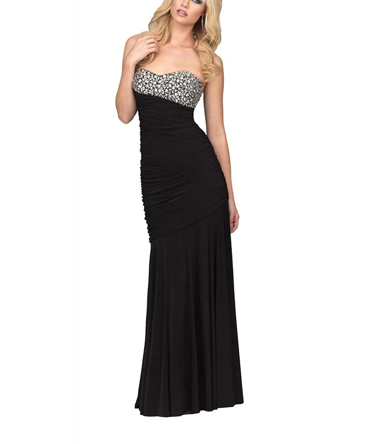 GEORGE BRIDE Trumpet/ Mermaid Sweetheart Floor-Length Black Chiffon Evening Dress