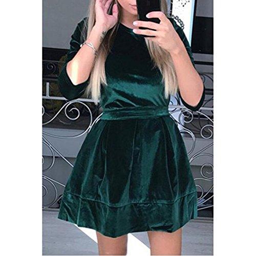 Verde de vestido Fit 3 las de terciopelo Belted de Vestidos y cuello hibote mujeres la Elegantes llamarada Velvet 4 manga redondo de xpqZUTw1