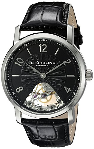 Sterling Silver Guilloche - Stuhrling Original Men's 927.02 Legacy Mechanical Hand-Wind Watch with Black Leather Band