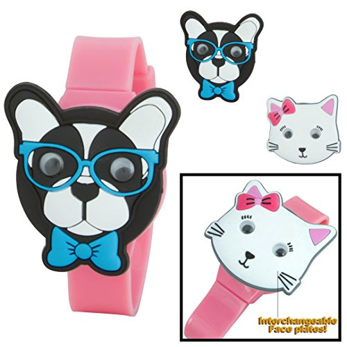 sugar-kids-digital-lcd-watch-with-interchangeable-googly-eyes-face-tops-dog-cat