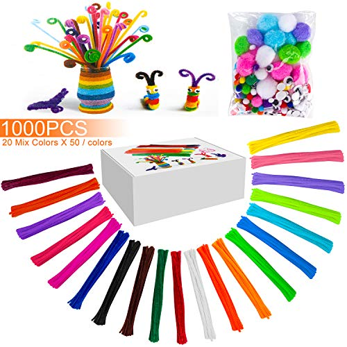 1000 Pcs Pipe Cleaners Chenille Stems with 100 Accessories,10 Assorted Colors for DIY Art Craft Decorations(6 mm x 12 inch)