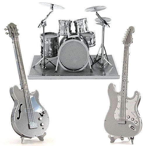 GFDay 3D Metal Laser Cut Musical Instrument Model Kits, 3D Metal Puzzles (3 Style Combo - Drum Set, Electric Bass Guitar, Electric Lead Guitar)