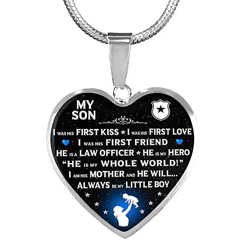OFGOT7 Police MOM I AM HIS Mother Heart Necklace - Great Gift for Mothers Day, Birthday for Mom