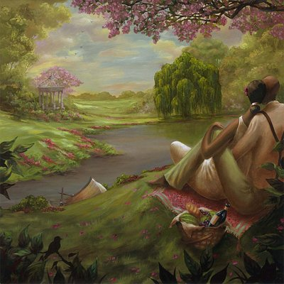 - Romantic Rendezvous by John Holyfield - 24 x 24 inches - Signed lithograph ed. 2000