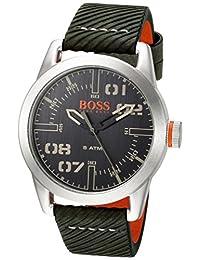 Hugo Boss Reloj para Hombre, Oslo 3 Hands Caratula Negra, Correa Piel Verde