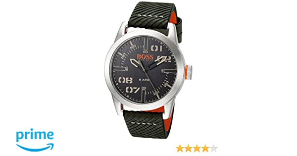 Amazon.com: HUGO BOSS Mens Oslo Stainless Steel Quartz Watch with Leather Calfskin Strap, Green, 22 (Model: 1513415: Watches