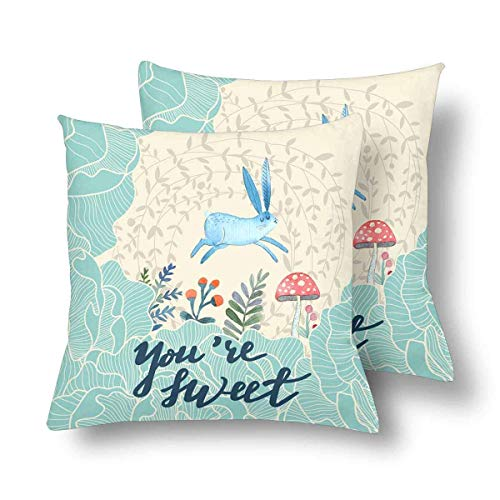 Brushed Canvas Mushroom - CHARMHOME You are Sweet Lovely Rabbit Flower Leaf Mushroom 2-Pack Satin Pillow Covers Square Sofa Couch 26x26inch Pillowcase Brushed Microfiber Bedroom Cushion,