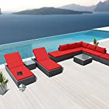 Modenzi L11-U Outdoor Sectional Patio Furniture Espresso Brown Wicker Sofa Set (Red)