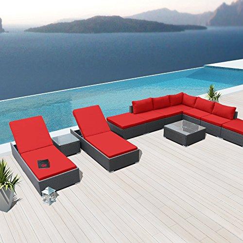 Modenzi L11-U Outdoor Sectional Patio Furniture Espresso Brown Wicker Sofa Set (Red)