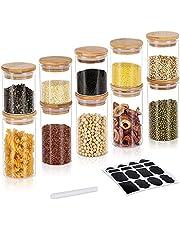 GoMaihe 200 ml + 300 ml, zestaw 10 pojemników na przyprawy, hermetyczne, szklane pojemniki z pokrywką, zestaw pojemników do przechowywania żywności, herbaty, wielokrotnego użytku