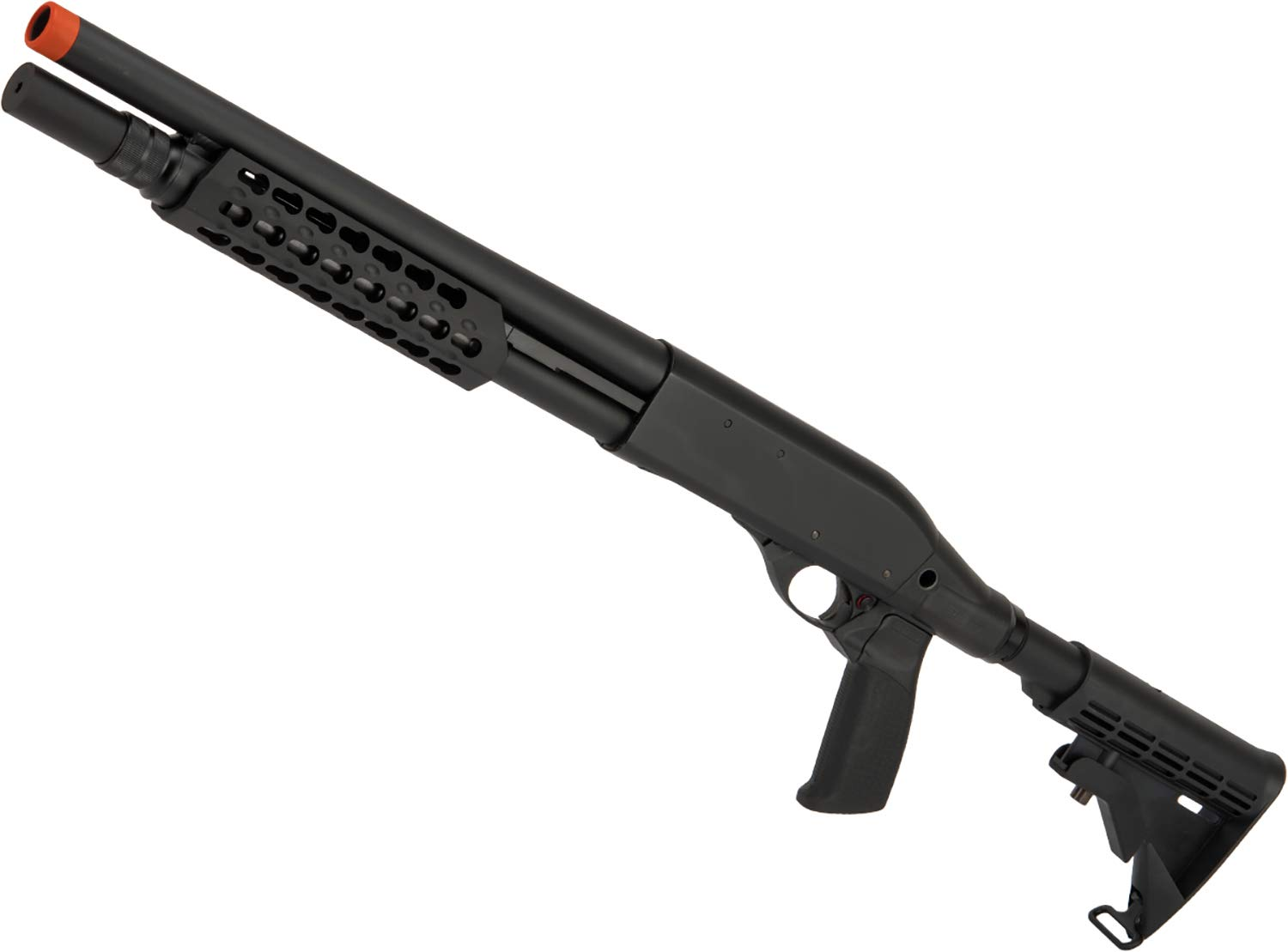 Evike APS CAM870 Shell Ejecting Tactical Pump Action Gas Airsoft MKII Shotgun (Model: Tactical Keymod Handguard) by Evike