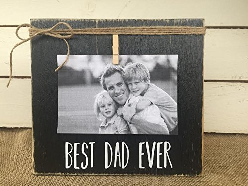 BEST DAD EVER by Burlap Bowtique FREE Shipping Vintage Shabby Chic Picture Frame Fathers Day Gift Rustic Picture Frame