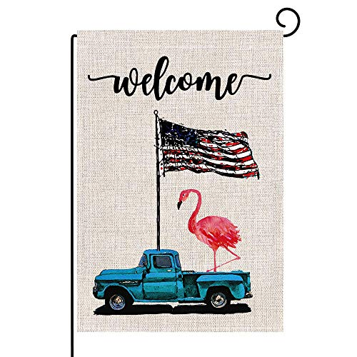 family Kitchen Summer Truck Flamingos Patriotic Welcome Burlap Double Sided Garden Flag, Home Outdoor Garden Yard Lawn Decoration, 12.8 x 18.8 Inch.