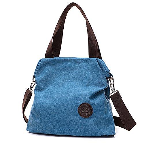 Canvas Crossbody Satchel Blue Handle Bag Tote Handbag 7RaC7qx