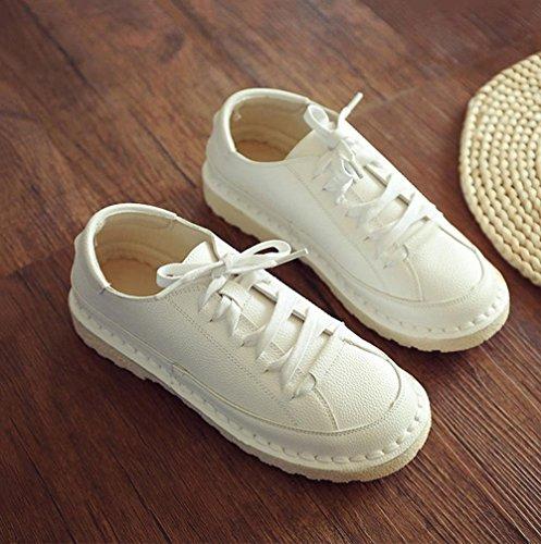 NSX Mary Jane dedo del pie redondo retro de la mujer de fondo plano con cordones de cuero casual zapatos de los planos , beige , 35 WHITE-35