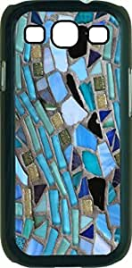Blue Mosaic Pattern - Case for the Samsung Galaxy S III-S3- Black Rubber Case with a Flip Cover