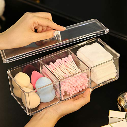 Sooyee Rectangle Cotton Ball and Swab Holder Organizer with Lid, Dustproof,Waterproof,Clear Acrylic 3 Compartment Cotton Pad Container for Cotton Swabs, Q-Tips, Make Up Pads, Cosmetics and More ()