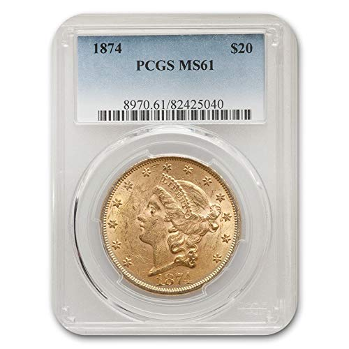 1874 $20 Liberty Gold Double Eagle MS-61 PCGS G$20 MS-61 PCGS