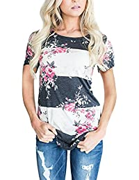 Women's Blouse 3/4 Sleeve Floral Print T-Shirt Comfy...