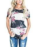 CEASIKERY Women's Blouse Floral Print T-Shirt Comfy Casual Tops For Women,Short Sleeve Pink,(US 8-10) Medium