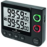 MARATHON TI030017 Large Display 100 Hour Dual Count UP/Down Timer, White - Battery Included (Dual Timer, Black)