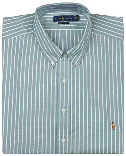 Polo RL Big and Tall Men's Oxford Stretch Stripe Shirt-Green/White-3XLT