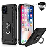 LeYi iPhone 11 Pro Case with Tempered Glass Screen Protector [2Pack], Military Grade Armor Protective Phone Cover Case with Car Ring Holder Kickstand for Apple iPhone 11 Pro 5.8 inch, JSFS Black