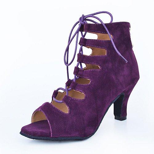 T.T-Q Damen Tanzschuhe Leder Modern Sneakers Chunky Heel Blau Latin Sandalen Salsa Jazz Tango Swing Praxis Innen Performance  40|Blau
