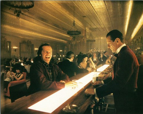 The Shining Jack Nicholson Joe Turkel in bar grinning 8x10 Promotional Photograph