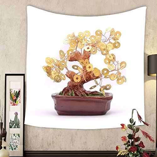 Carolyn J. Morin Custom tapestry bonsai tree with coins isolated on white by Carolyn J. Morin