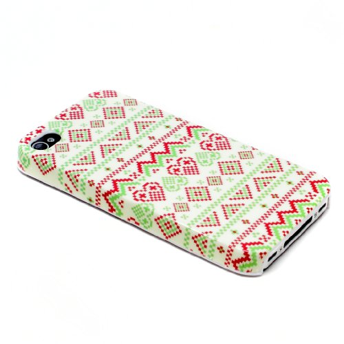 deinPhone Apple iPhone 4 4S HARDCASE Hülle Case Zick Zack Muster Hellgrün Rot