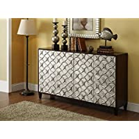 Treasure Trove Accents 17429 Four Door Credenza, Expresso/Silver