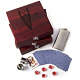 Set of 3 - Groomsmen Gifts, Personalized Flask Gift Set|Rosewood Finish Gift Box, Flask, Dice, Playing Card Deck + Funnel Set -4