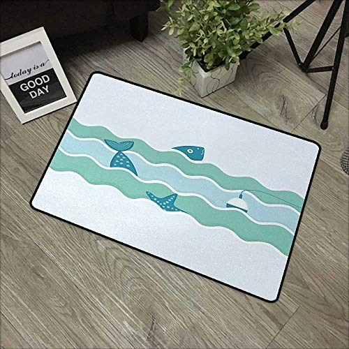 (Printed door mat W24 x L35 INCH Fishing,Fish Tail and Starfish Swimming in Flat Waves Submarine Comical Illustration Nature,Light Blue Our bottom is non-slip and will not let the baby slip,Door Mat Ca)