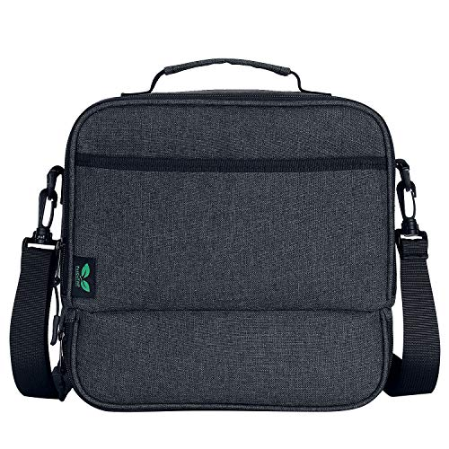 Lunch Box Bag Lunchbox Bag for Men Women Kids, Flat Lunchbox Tote Bag 2 Compartment Keep Warm and Cold with Pocket Shoulder Strap 7 Cans (Black N21) by F40C4TMP