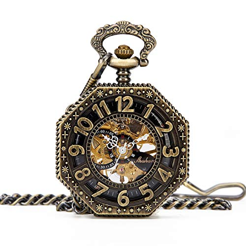 (Mens Steampunk Gold Tone Octagon Skeleton Mechanical Pocket Watch with Chain + Box (Bronze) )