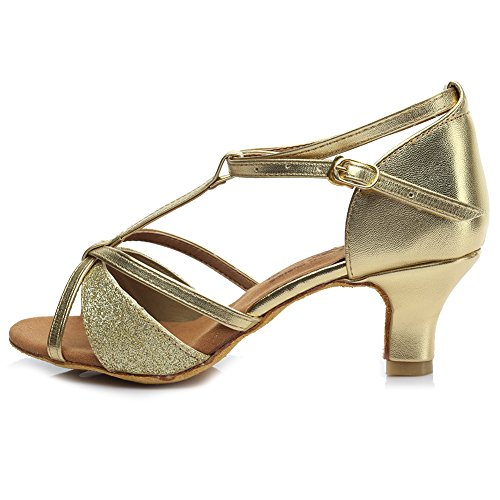 Hroyl Kvinna Latinska Dansskor Satin Ballroom W7-w09 Gold1