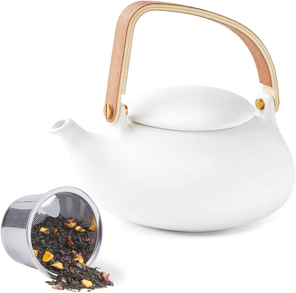 Amazon Com Zens Teapot With Infuser Matte Ceramic Japanese Tea Pot For Loose Leaf Tea 27 Ounces Porcelain Teapots White For Women Gift With Modern Bentwood Handle 800ml Teapots