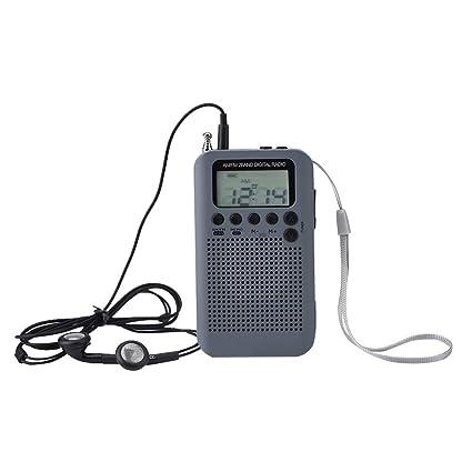 Pocket LCD AM FM Radio Speaker Stereo Two  Band Digital Tuning Radio w// Earphone