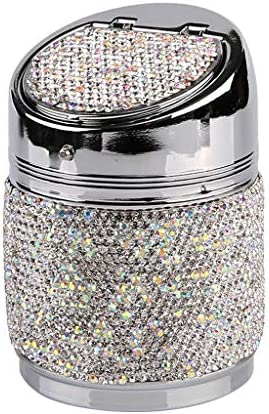 灰皿 , 家庭用車のための創造的な灰皿、フルダイヤモンド灰皿ユニバーサル装飾灰皿フル使用 (色 : Silver)