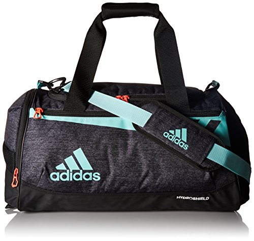 adidas Team Issue Duffel Bag, Small, Black Jersey/Energy Aqua/Lucid Red
