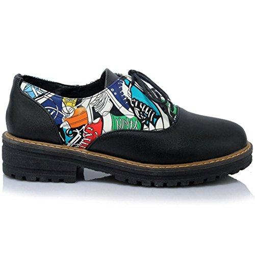 Coolcept Zapatos Casual de Tacon Plano para Mujer Black